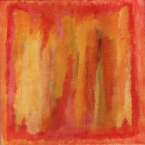 Yellow and red abstract painting by Christopher Stanton