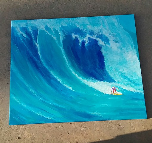 Acrylic portrait of a big wave surfer by Christopher Stanton