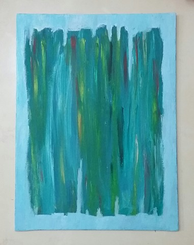 Green abstract acrylic painting by Christopher Stanton