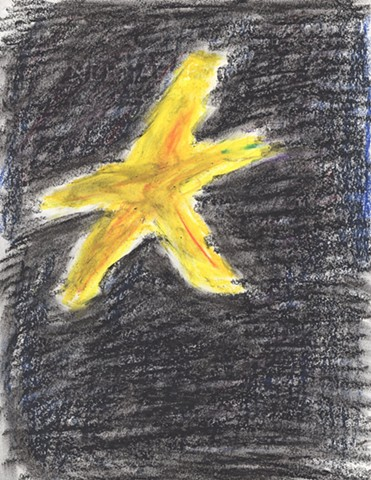 Oil pastel drawing of a star by Christopher Stanton