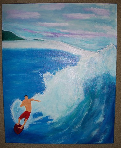 Acrylic painting of a surfer by Christopher Stanton