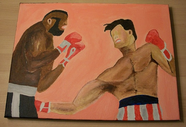 Acrylic painting of the match between Rocky Balboa (Sylvester Stallone) and Clubber Lang (Mr. T) from the film Rocky III by Christopher Stanton