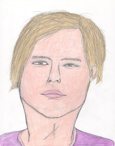 Colored pencil drawing of Chris Taylor from Grizzly Bear