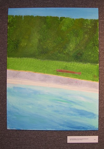 Acrylic painting of a backyard pool and hedge by Christopher Stanton