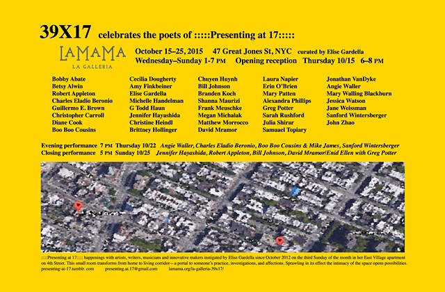 39X17                                                                     :::::Presenting at 17::::: our 3 year anniversary celebration show at La MaMa  [card side 1]