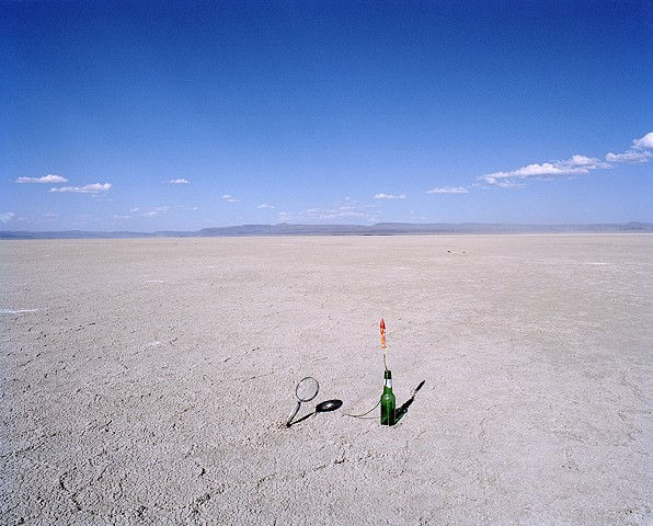 A Bottle Rocket Taking Flight in the Desert (triptych)