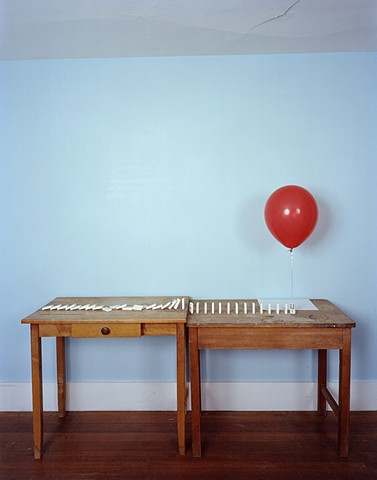 Dominos, Helium Balloon, Drawing (triptych)