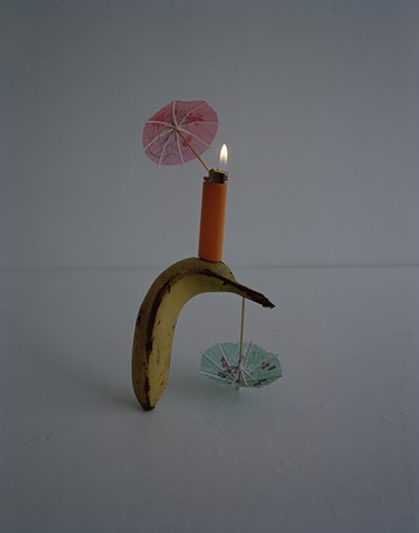 Bic Lighter, Banana and Cocktail Umbrellas