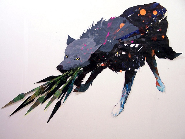 Spear breathing wolf collage by artist Owen Rundquist