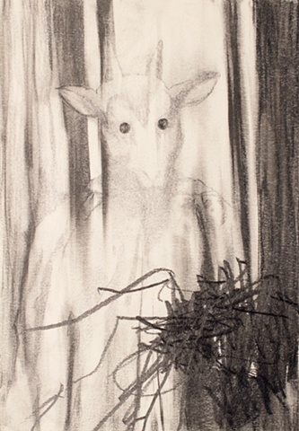 Drawing of ritual participant by artist Owen Rundquist