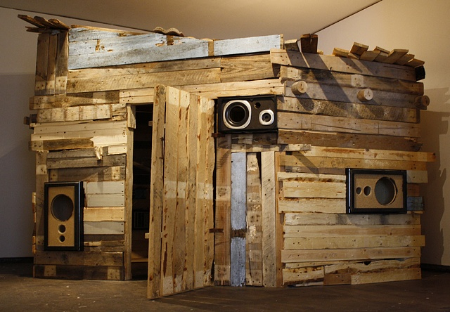 Interactive heavy metal sound sauna installation by artist Owen Rundquist and Alexander DeMaria