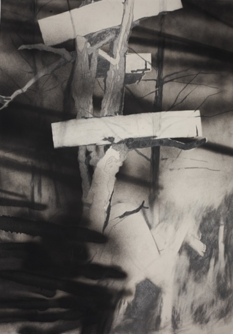 Drawing of a tree and caskets by artist Owen Rundquist