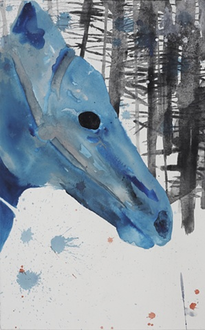 Drawing of a horse and forest by artist Owen Rundquist