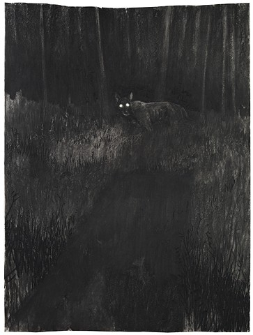 A Dog And An Open Grave (Night Drawing II)