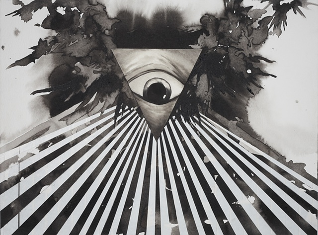 Drawing of an all seeing eye by artist Owen Rundquist