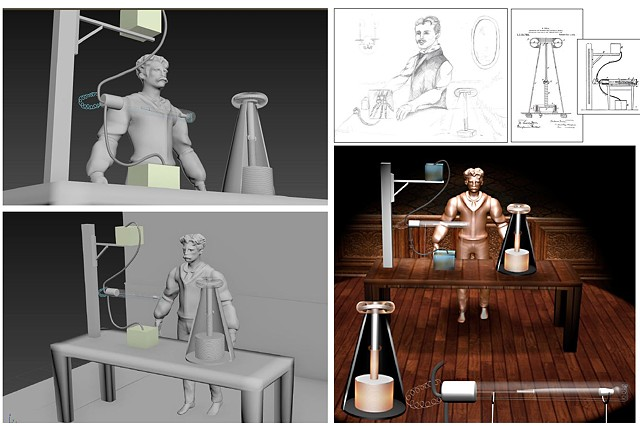 Nikola Tesla 3D Visualization Portrait and Coil Experiement