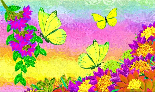 Handcrafted and embellished all-purpose greeting card, butterflies and flowers, blank inside