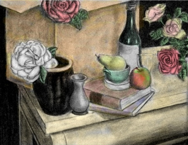 Handcrafted and embellished all-purpose greeting card, still life, blank inside