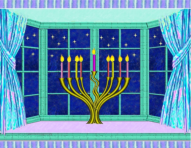 Handcrafted and embellished HANUKKAH card.