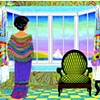 Lady in shawl gazes out the Window