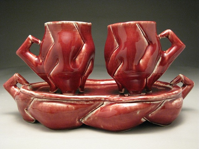 Red Mugs with Tray