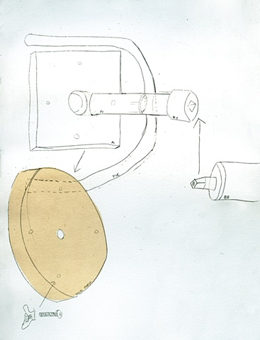 """metal plate, wooden disk"""
