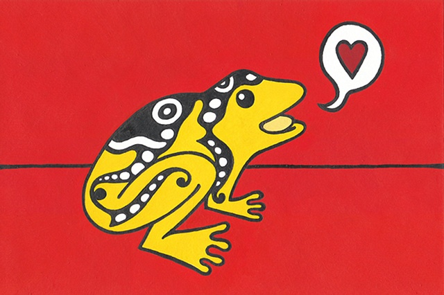 Tauba Auerbach. Graphic frog. Valentine. Sold for $85 at Kaleid Gallery.