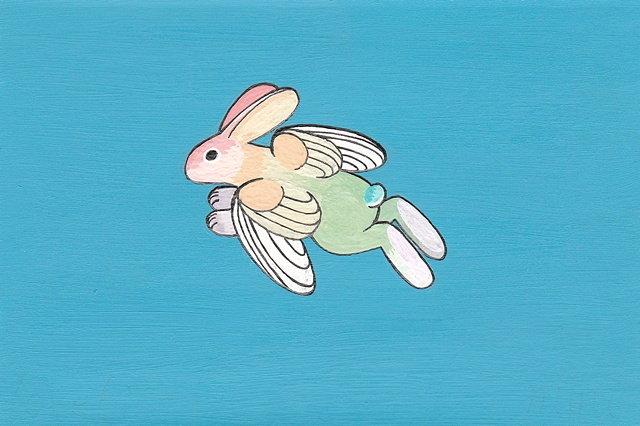 Tauba Auerbach. San Jose artist. Lovebird bunny. Was in the Year of the Rabbit show at Studio Gallery. Sold for $85 at Psycho Donuts in San Jose, February 2012.