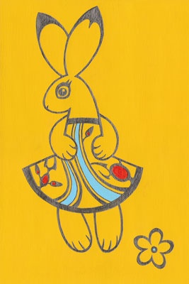 "Tauba Auerbach. Was in the ""Year of the Rabbit"" show at Studio Gallery in San Francisco. Sold for $85, from Kaleid Gallery, to my grandmother J after she called the gallery. A pencil drawing of a stylized rabbit on a painted yellow background. She wears a"