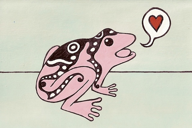 Tauba Auerbach. Pink frog with black and white markings. 2005.