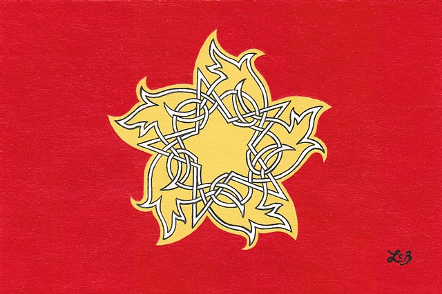 Tauba Auerbach. Sold for $90 at Kaleid. Star. Celtic knot. Drawn by hand. Red, yellow, and white. Was on display at Kaleid Gallery. Changed title to Turning Star just before Momentum 2011 show. Spiral.
