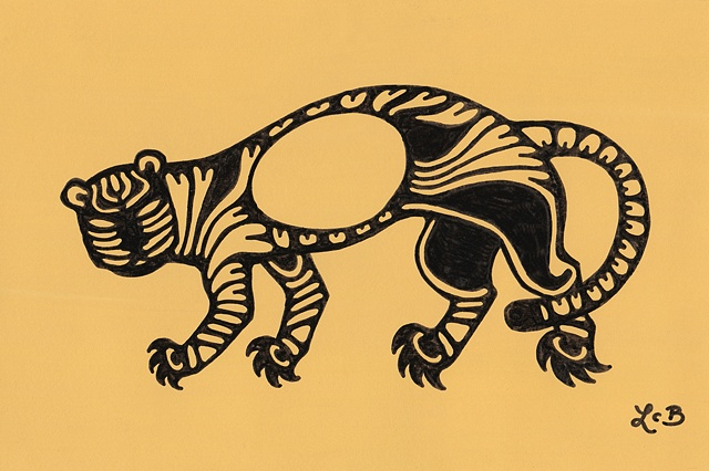 Tauba Auerbach. Black pen drawing of a stylized tiger on a goldenrod yellow background. It resembles a Scythian tattoo or a carved Zuni fetish. Drawn by Laura Callln Bennett. Sold for $85 at Psycho Donuts in downtown San Jose.