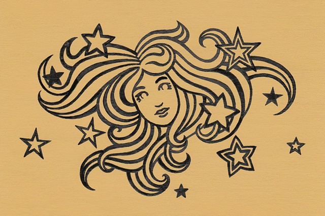 Line drawing of a woman's face surrounded by her swirling hair, with scattered stars. Black ink outlines on a yellow background. Style reminiscent of Art Nouveau and the pop art of Peter Max.