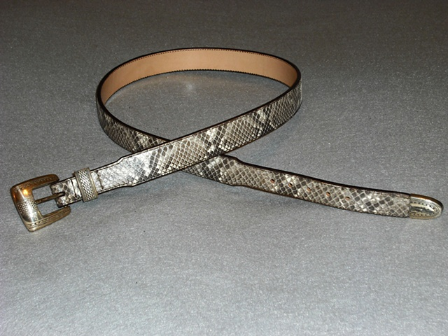Python Snake Belt - 1-1/4 inch dress belt/Silver Buckle set