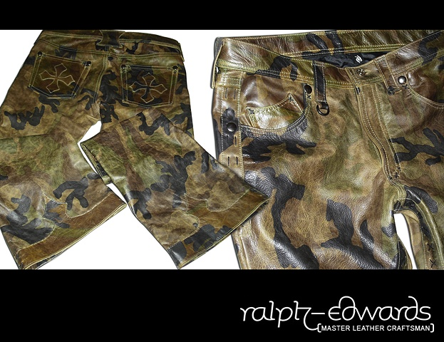 Camouflage Leather Pants