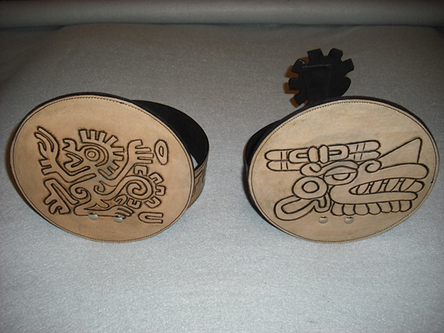 Azteca Ceremony Headdresses ... Hand Tooled and Stained with Antique Finish
