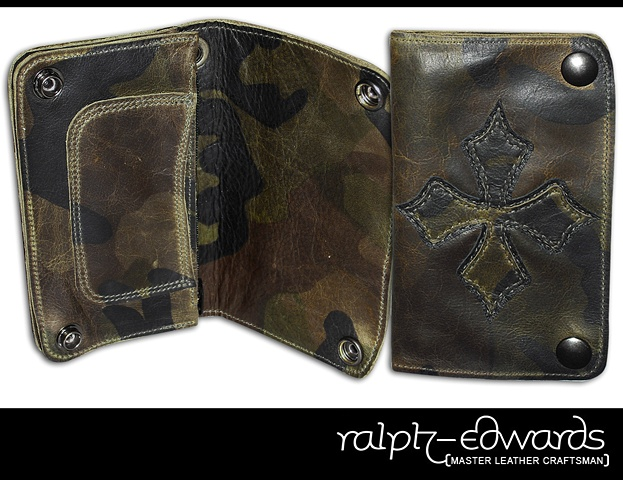 Biker Wallet in Camouflage Leather