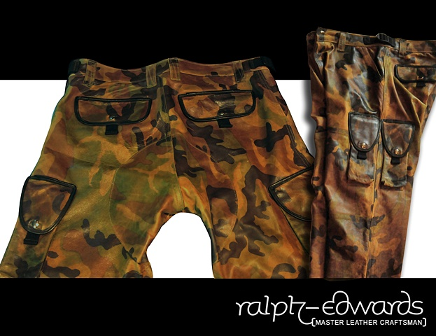 Custom camouflage leather cargo pants (Back & Side detail)