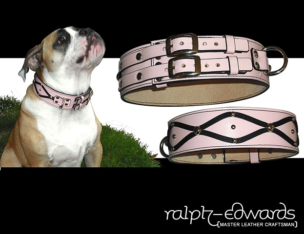 Pink Dog Collar - 8/9 oz. Cowhide Leather 2 inches wide with twin buckles