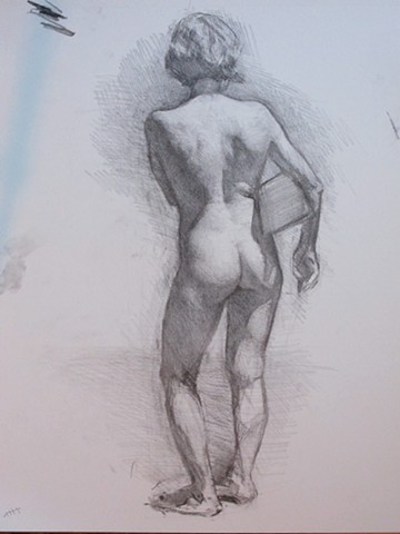 Standing Nude holding a block