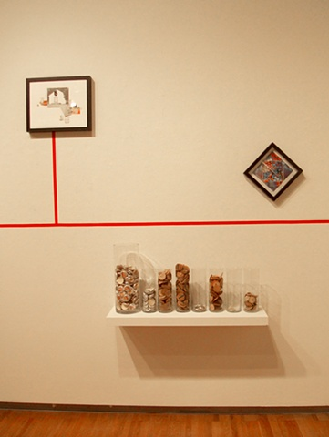 Bottlecap Economics with collages, installation view