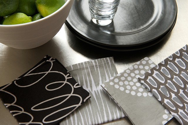 black/grey assorted cocktail napkins