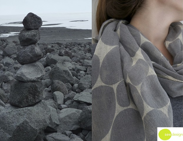 large soft dot grey wool scarf
