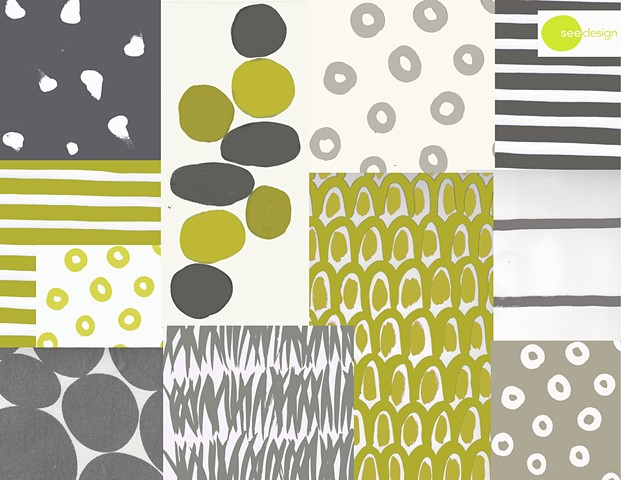 grey and green patterns
