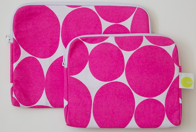 large soft dot neon pink laptop case and tablet cover