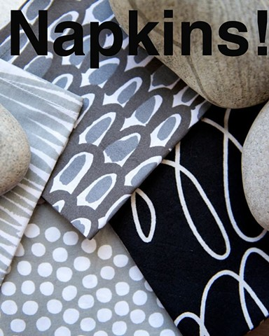 black and grey napkins