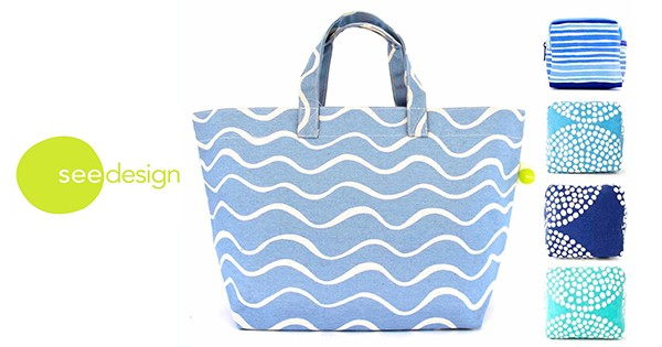 See Design Square Tote Wave Turquoise, Small Cosmetic Bags