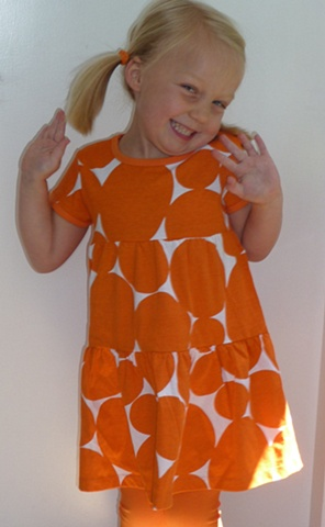 Eve wearing large soft dot in orange