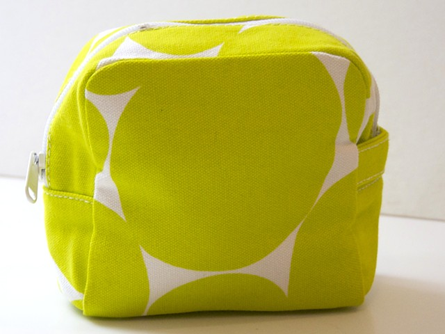large soft dot neon green small cosmetic bag