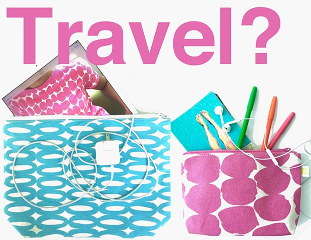 See Design Large Travel Pouch Rings Aqua and Small Travel Pouch Big Smudge Pink